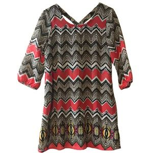Indulge Chevron Black and Coral 3/4 Sleeve Dress